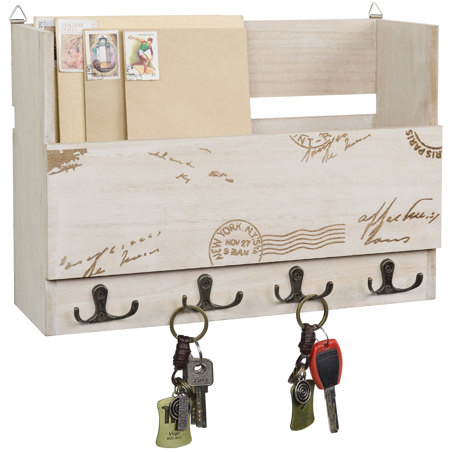 MyGift Wall Mounted Vintage Postage Stamp Beige Wood Mail Sorter with 8 Hooks
