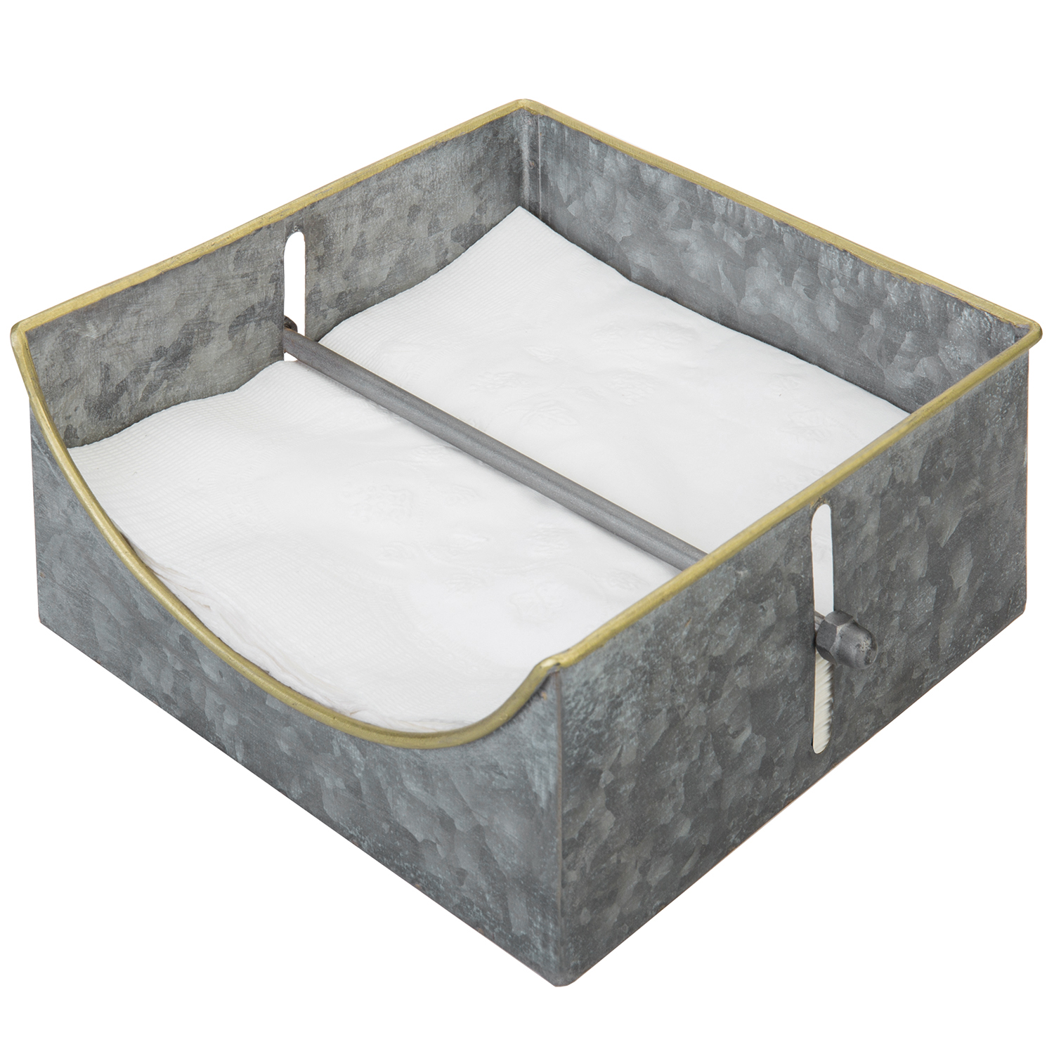 Mygift Galvanized Silver Metal Square Napkin Holder With Weighted Center Arm Bar Ebay
