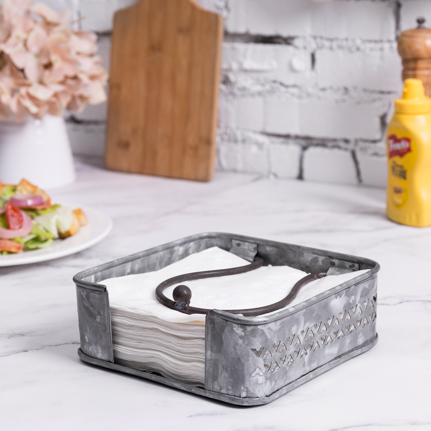 Mygift Cutout Heart Design Silver Metal Tabletop Napkin Holder With Weighted Arm Ebay