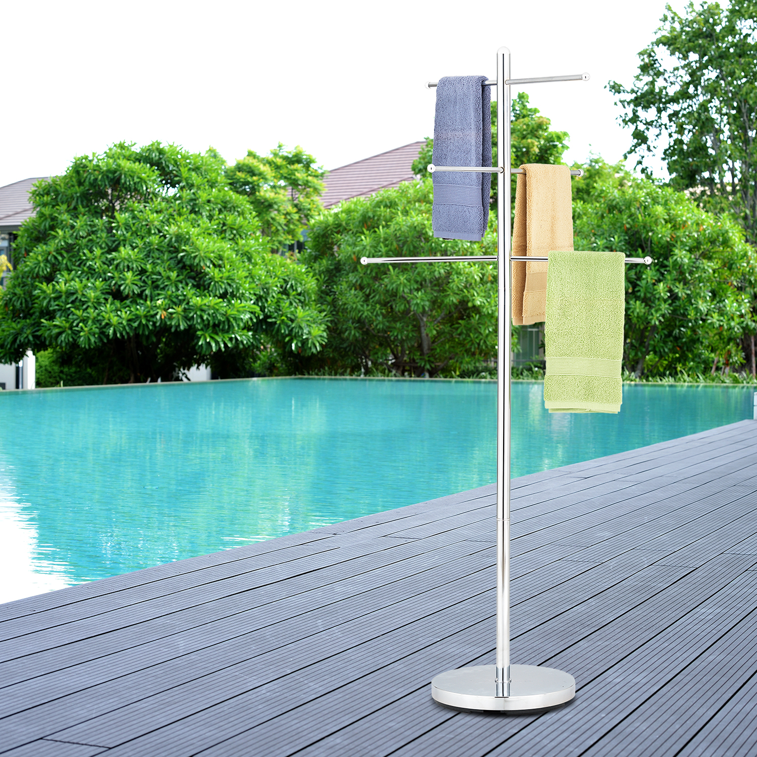MyGift 6 Rung Luxury Chrome Plated Metal Freestanding Pool and Spa Towel Tree